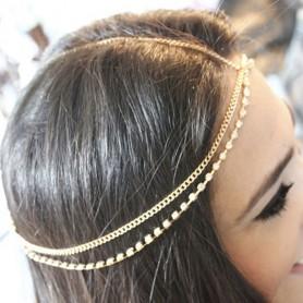 Headband Chaine doré et Strass