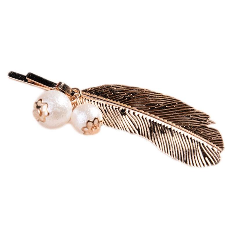 Barrette Feuille avec perle