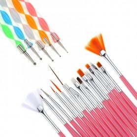 Kit complet 20 Pinceaux pour Nail Art