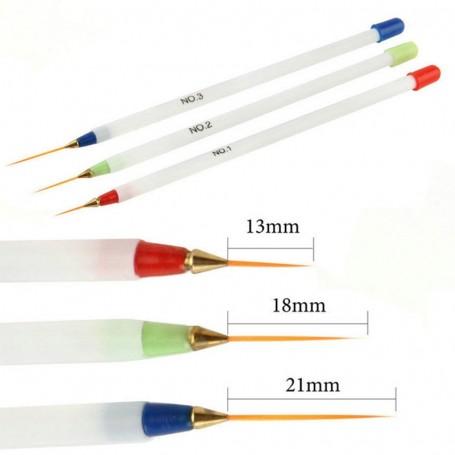 X3 Pinceaux poils long et fin Nail Art
