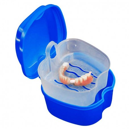 Boite à dentier avec égouttoir